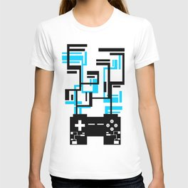 8-BIT JOYSTICK (BLUE AND BLACK) T-shirt
