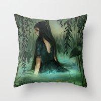 siren Throw Pillows featuring Siren by Olivia Chin Mueller