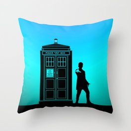 Tardis With The Twelfth Doctor Throw Pillow