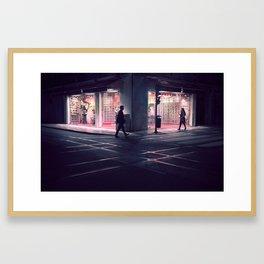 Meeting point - Lisbon street shot in a late winter night Framed Art Print