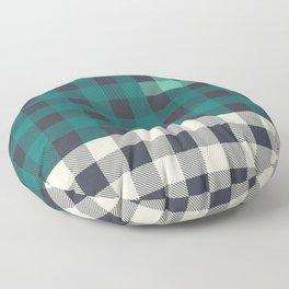 OVERSIZED PATCHWORK BUFFALO CHECK IN NAVY, TEAL, & AQUA Floor Pillow