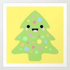 Happy Kawaii Christmas in Yellow Art Print