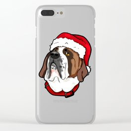 St. Bernard Saint Dog Christmas Hat Present Clear iPhone Case