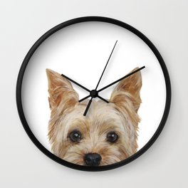 Yorkshire 2 Dog illustration original painting print Wall Clock