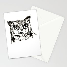 Owl Sketch (Black & White) Stationery Cards