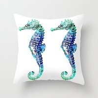 sea horse Throw Pillows featuring Sea Horse by LebensART