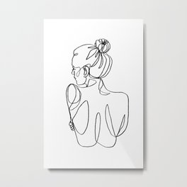 One Line Drawing, Single Line Drawing, Female Nude Art, One Line Art, Abstract One Line Drawing Metal Print
