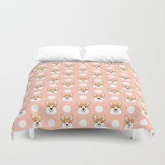 Corgi polka dots peach blush pastel pink coral welsh corgi iphone case for dog lover gifts for dogs Duvet Cover