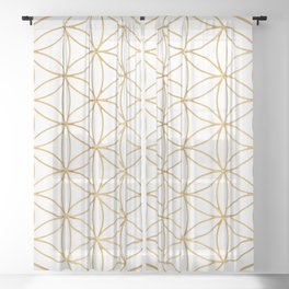 Flower Of Life, Mother Of The Tree Of Life And The Metatron's Cube Sheer Curtain