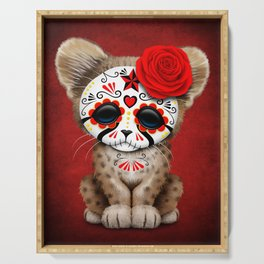Red Day of the Dead Sugar Skull Cheetah Cub Serving Tray