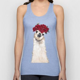 Llama with Red Roses Crown Unisex Tank Top