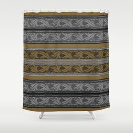 Fret Stripe in Black and Brown Shower Curtain