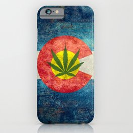 Retro Colorado State flag with the leaf - Marijuana leaf that is! iPhone Case
