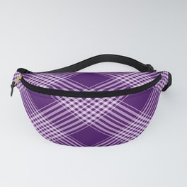 Royal Purple And White Plaid Fanny Pack