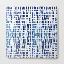 Shibori Braid Vivid Indigo Blue and White Metal Print