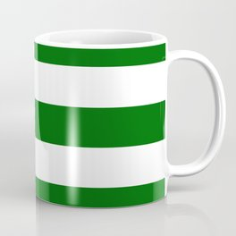 Emerald green - solid color - white stripes pattern Coffee Mug
