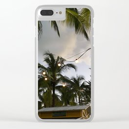 Twinkle Lights under Bahamian Palm Trees Clear iPhone Case