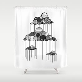 Rain Game in Black and White Shower Curtain