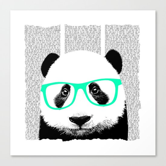 Panda with teal glasses Canvas Print