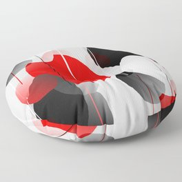 Modern Anxiety Abstract - Red, Black, Gray Floor Pillow