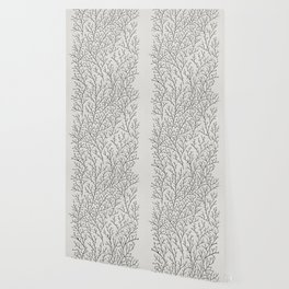 Berry Branches – Silver & Black Wallpaper