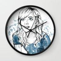 emma stone Wall Clocks featuring Emma by naidl