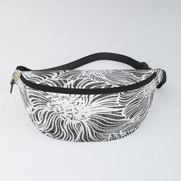 big sunflower in black and white line work Fanny Pack