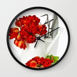 Fresh red tulips in white watering can and garden tools Wall Clock