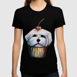 """Cherry on Pup"" Maltese Cake Pattern T-shirt"