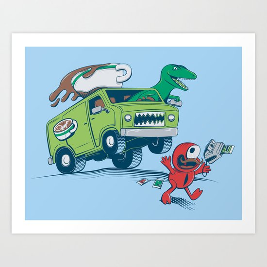 DinoLatte Run Down Art Print