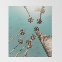 {1 of 2} Palm Trees = Happy // Teal Summer Sky Throw Blanket