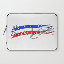New York with the colors of american flag - Vector Laptop Sleeve