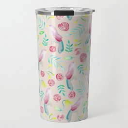 Watercolor Birds and Spring Flowers Travel Mug