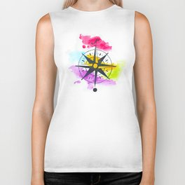 Watercolor Compass Biker Tank