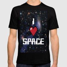 I Heart Space Retro Galaxy MEDIUM Black Mens Fitted Tee
