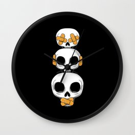 Cute Skulls No Evil II Wall Clock