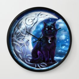 Black Cat Celtic Crescent Moon Wall Clock
