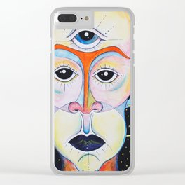 Third Eye Alien Geometric Painting Ascension Clairvoyant Channeled ARtwork Clear iPhone Case