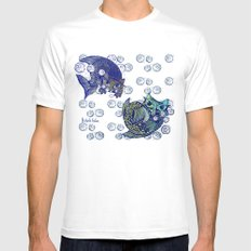 Cats print Mens Fitted Tee MEDIUM White