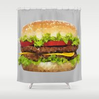 hamburger Shower Curtains featuring Triangular HAMBURGER by JOlorful