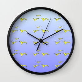 Birds in the blue sky 1-bird,sky,hope,feathers,jaws,eggs,aves,wing Wall Clock