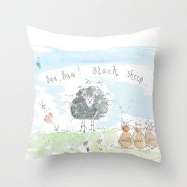 Woolly black sheep Throw Pillow