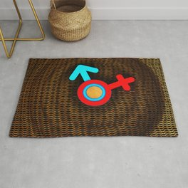Illustration imitating a decorative clock with a mesh structure. Symbol of man and woman. Rug