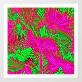 closeup palm leaf texture abstract background in pink and green Art Print