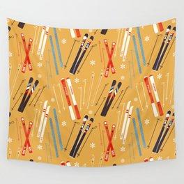Bright Retro Skii Pattern Wall Tapestry