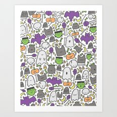Kawaii Halloween - White Art Print