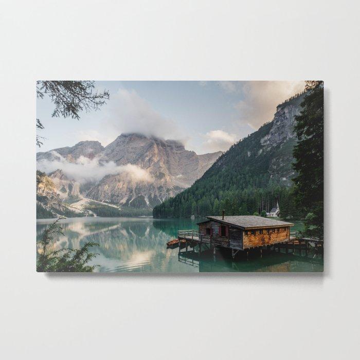 Mountain Lake Cabin Retreat Metal Print