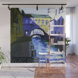 Etude drawing of the ancient architecture of the river canals of the city. Wall Mural