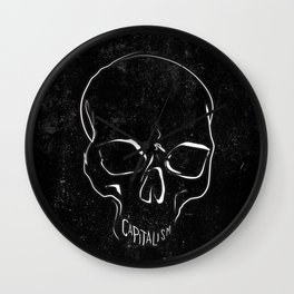 Anti Capitalism Black Skull Political Art Print Wall Clock