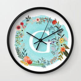 Personalized Monogram Initial Letter G Blue Watercolor Flower Wreath Artwork Wall Clock